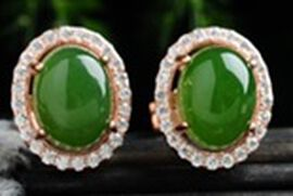 Green Jade and Simulated Diamond Stud Earrings (with Push Back) in Yellow Gold Overlay Sterling Silv