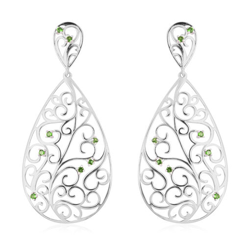 LucyQ Victorian Era Collection - Russian Diopside Drop Earrings (with Push Back) in Rhodium Overlay