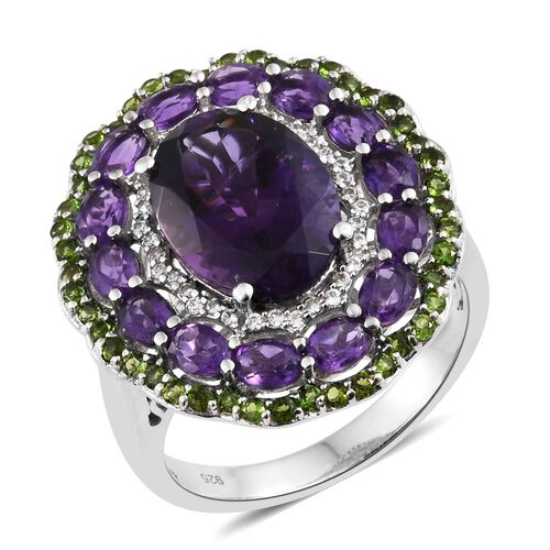 Lusaka Amethyst (Ovl 5.00 Ct), Russian Diopside and Natural Cambodian Zircon Flower Ring in Platinum