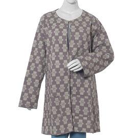 100% Cotton Grey Colour Quilted Reversible Jacket (Size 126x89 Cm, XL/XXL)