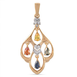 Rainbow Sapphire and Natural Cambodian Zircon Pendant in 14K Gold Overlay Sterling Silver 1.37 Ct.