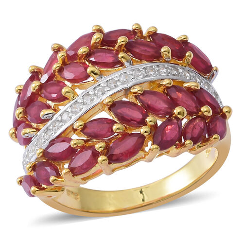 African Ruby (Mrq), Natural White Cambodian Zircon Ring in 14K Gold Overlay Sterling Silver 5.000 Ct. Silver wt 6.55 Gms.
