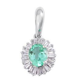 ILIANA 0.55 Ct AAA Boyaca Colombian Emerald and Diamond (SI/G-H) Halo Pendant in 18K White Gold