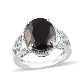 2.50 Ct Elite Shungite Solitaire Ring in Platinum Plated Silver