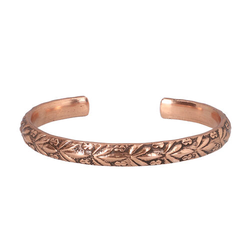 Antique Copper Embossed Cuff Bangle (size 6)