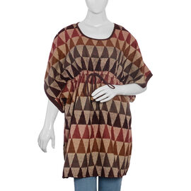 Designer Inspired- Beige Brown and Multi Colour Geometric Pattern Dress (Size 85x60 Cm)