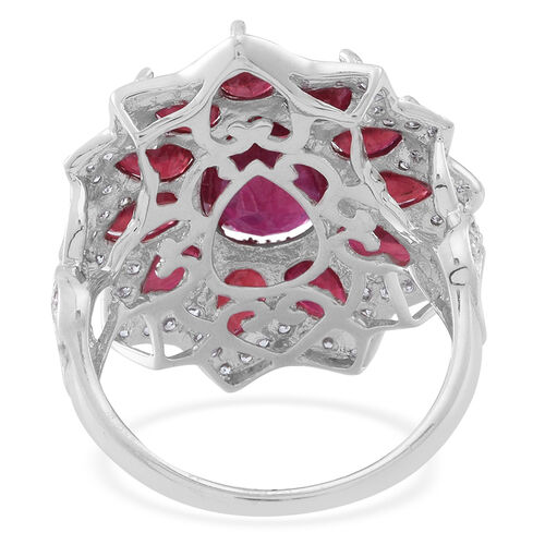 Limited Edition Designer Inspired African Ruby (Pear 4.00 Ct), White Zircon Ring in Rhodium Plated Sterling Silver 11.000 Ct.