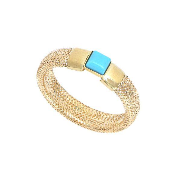 Italian Made 9K Yellow Gold Turquoise Adjustable Mesh Ring (Size Large) (Size Q to U)
