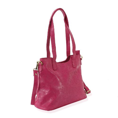 Limited Edition- 100% Genuine Leather Tote Bag with Detachable Strap and Zipper Closure (Size 32x26x11 Cm) - Fuchsia