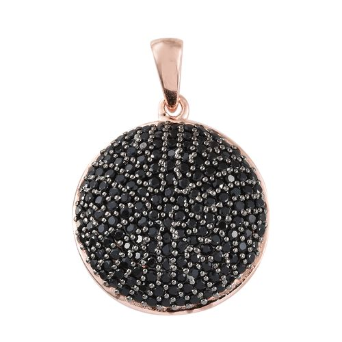 Boi Ploi Black Spinel (Rnd) Pendant in Rose Gold Overlay Sterling Silver 3.250 Ct, Silver wt 6.36 Gms, Number of Black Spinel- 166