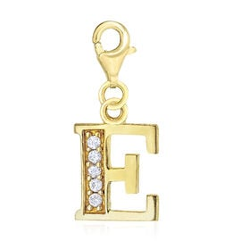 Simulated Diamond E Initial Charm in Yellow Gold Overlay Sterling Silver.
