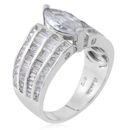 ELANZA Simulated White Diamond (Mrq) Ring in Rhodium Plated Sterling Silver