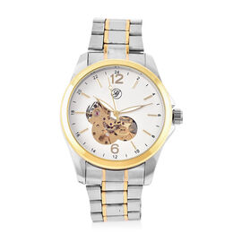 Genoa Automatic Mechanical Movement White Dial Water Resistant Watch with Chain Strap