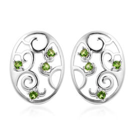 LucyQ Victorian Era Collection - Russian Diopside Filigree Stud Earrings (with Push Back) in Rhodium