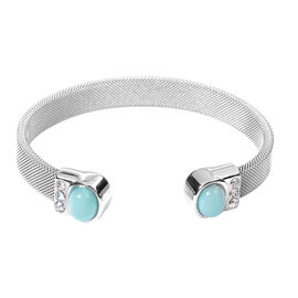 Amazonite and White Austrain Crystal Cuff Bangle (Size 7.5) in Stainless Steel