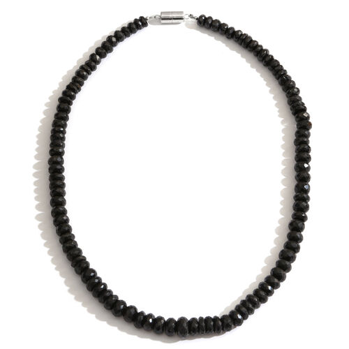Exclusive Edition - Graduated Boi Ploi Black Spinel Necklace (Size 20) with Magnetic Clasp in Rhodium Plated Sterling Silver 400.00 Ct.