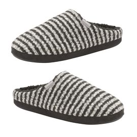 Dunlop Mens Stripe Slipper Mules in Black and White Colour