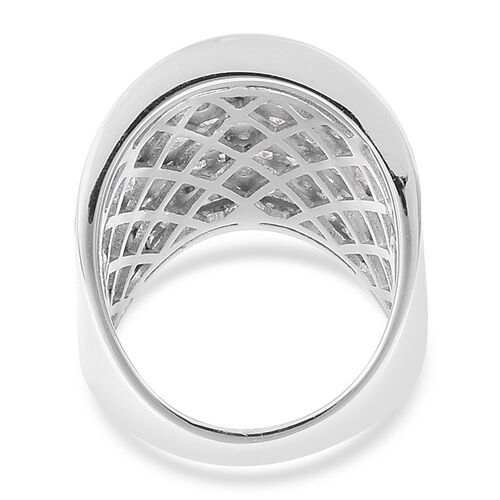 Designer Inspired-ELANZA Simulated White Diamond Wide Band Ring in Rhodium Plated Sterling Silver