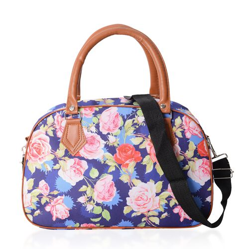 Water Resistant Blue Rose Pattern Tote Bag with Removable Shoulder Strap (34.5x23x13.5 Cm)