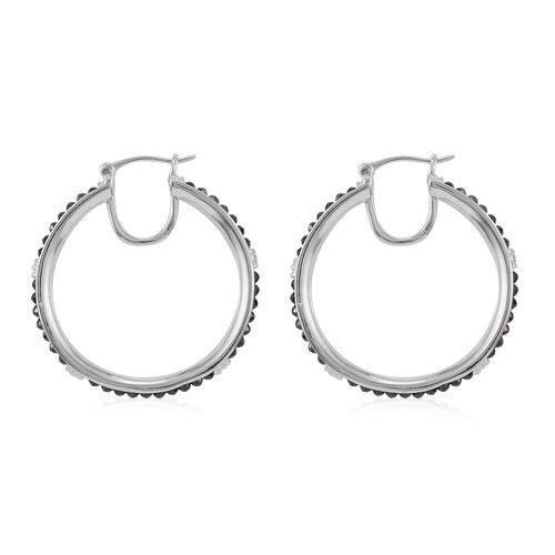 Boi Ploi Black Spinel Hoop earrings (with Claps) in Silver Tone 7.50 Ct.