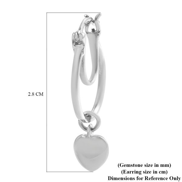 Platinum Overlay Sterling Silver Heart Charm Earrings (with Clasp), Silver wt 5.00 Gms