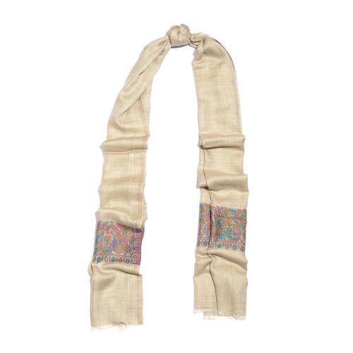 100% Cashmere Wool Cream, Blue and Multi Colour Scarf with Floral Pattern Border (Size 200X70 Cm)