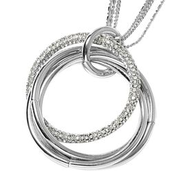 White Austrian Crystal (Rnd) Circle Pendant With Chain (Size 29 with 2 inch Extender) in Silver Tone