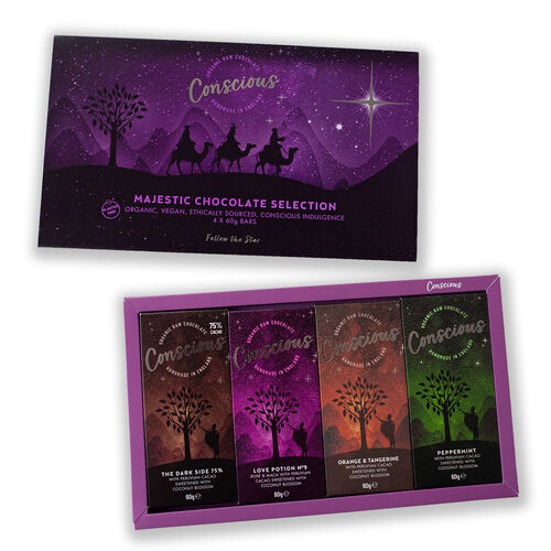 The Raw Chocolate Company Majestic Selection Box (4 x 60g Bars - Peppermint, Orange & Tangerine, Lov