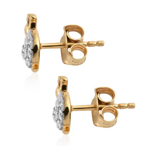 Diamond (Rnd) Bird Stud Earrings (with Push Back) in 14K Gold Overlay Sterling Silver 0.150 Ct.