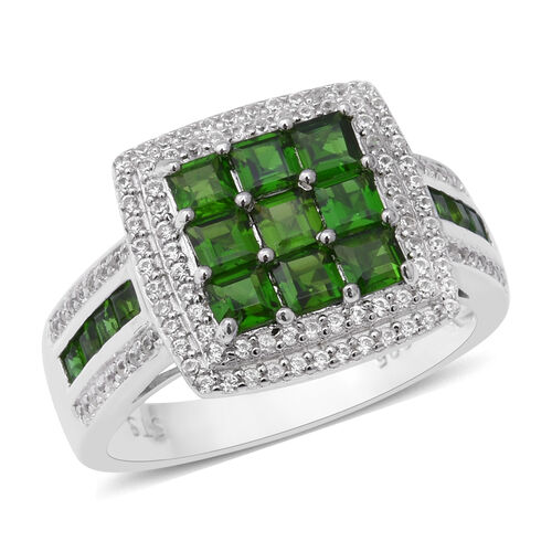 3.06 Ct Russian Diopside and Zircon Cluster Ring in Rhodium Plated Silver 6.40 Grams