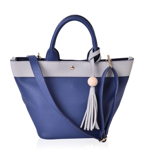 Blue and Grey Colour Tote Bag with Adjustable and Removable Shoulder Strap with Tassels (Size 35x24x21x18 Cm)