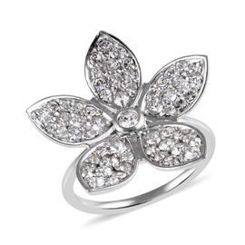J Francis White Colour Crystal from Swarovski Floral Ring in 9K White Gold 8 Grams