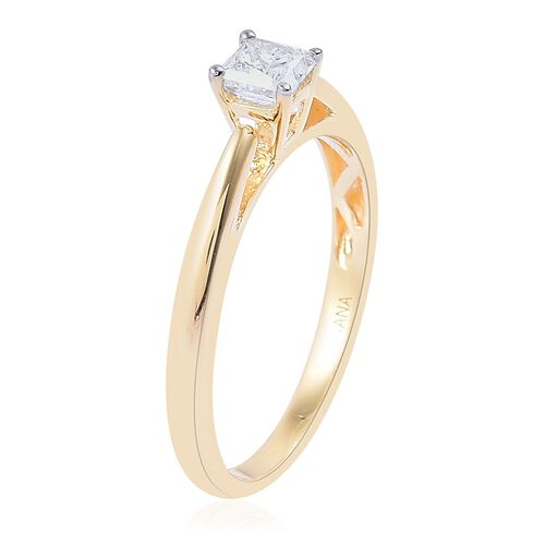 ILIANA 18K Yellow Gold IGI Certified Diamond (Princess Cut) (SI/G-H) Solitaire Ring 0.500 Ct.