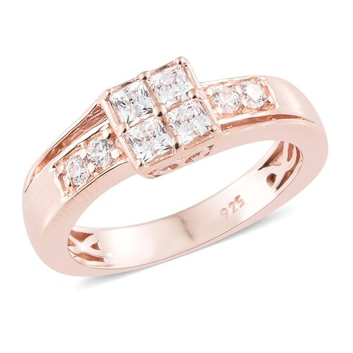 J Francis - Rose Gold Overlay Sterling Silver (Sqr and Rnd) Ring Made with SWAROVSKI ZIRCONIA