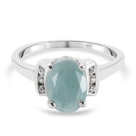 Grandidierite (Oval 9x7) and Natural Cambodian Zircon Ring in Platinum Overlay Sterling Silver 1.980
