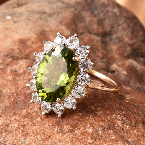 Signature Collection- 9K Yellow Gold Rare Size AA Hebei Peridot and Natural Cambodian Zircon Ring 7.75 Ct.