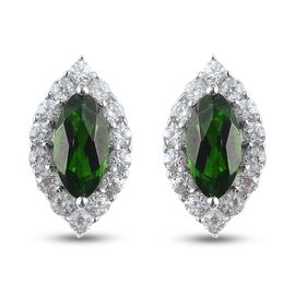Russian Diopside, Zircon Earring in Platinum Overlay Sterling Silver 1.00 ct  1.000  Ct.