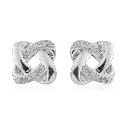 0.15 Carat Diamond Knot Stud Earrings in Platinum Overlay Sterling Silver