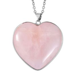 Rose Quartz (Hrt 40 mm) Heart Pendant With Chain (Size 24) in Stainless Steel 85.000 Ct.