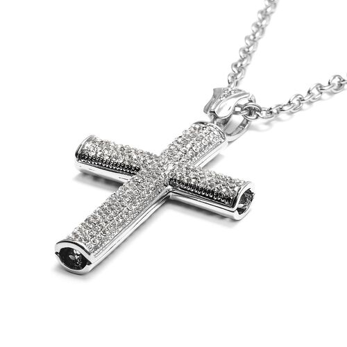 White Austrian Crystal Cross Pendant with Chain (Size 29 with 2.5 inch Extender) in Silver Tone
