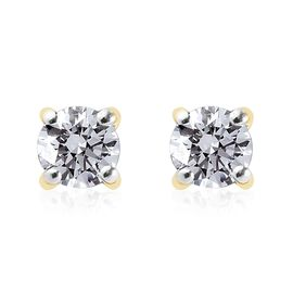 9K Yellow Gold SGL Certified Diamond (I3/G-H) Stud Earrings (with Push Back) 0.20 Ct.