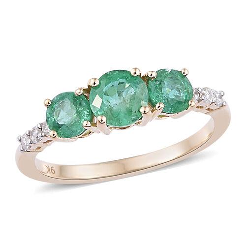 1.1 Ct AAA Zambian Emerald and Diamond 3 Stone Ring in 9K Gold 1.49 Grams