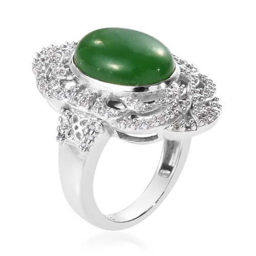 Green Jade (Ovl 14x10 mm), Natural Cambodian Zircon Ring in Platinum Overlay Sterling Silver 7.75 Ct, Silver wt 6.90 Gms