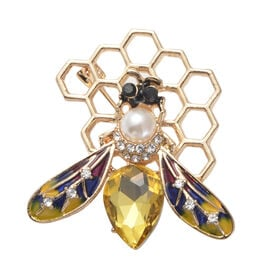 Simulated Champagne Diamond, Simulated Pearl, Black and White Austrian Crystal Enamelled Honey Bee B