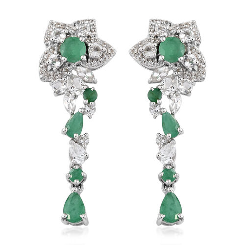 4.50 Ct Kagem Zambian Emerald and White Topaz Earrings in Platinum Plated Silver 5.46 grams