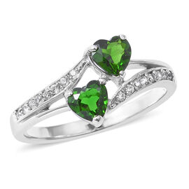 1.28 Ct Russian Diopside and Natural Cambodian White Zircon Heart Ring in Rhodium Plated Silver