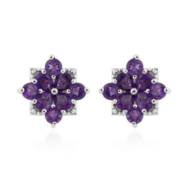 Amethyst Floral Stud Earrings (with Push Back) in Platinum Overlay Sterling Silver 1.50 Ct.