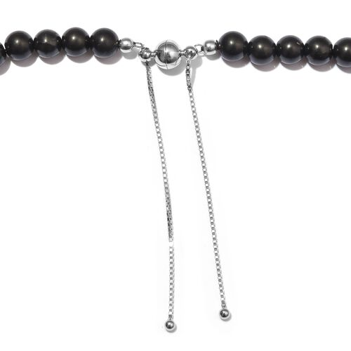 Shungite Bead Necklace (Size 18-22 Adjustable) in Rhodium Overlay Sterling Silver 175.00 Ct.