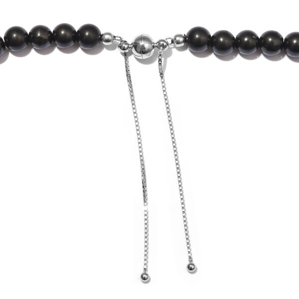 Shungite Bead Necklace (Size 18-24 Adjustable) in Rhodium Overlay Sterling Silver 175.00 Ct.