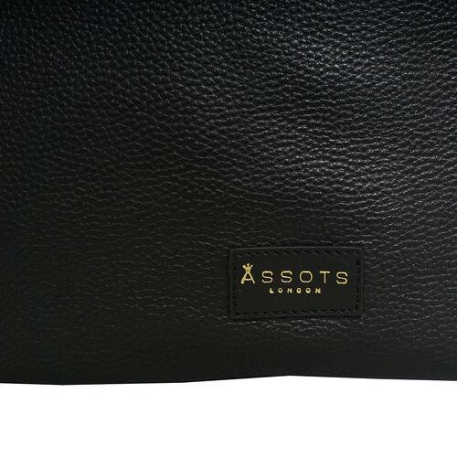 Assots London Harriet Genuine Leather Slouchy Hobo Bag (Size 35x29x7cm) - Black